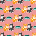 Cats heads vector illustration cute animal funny seamless pattern background characters feline domestic trendy pet