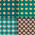 Cats heads vector illustration cute animal funny seamless pattern characters feline domestic trendy pet