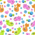 Cats for kids seamless pattern.