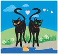 Cats in love vector cat lovers on the lake with hearts and fish Royalty Free Stock Photography