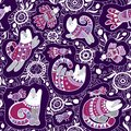 Seamless vector pattern - cute cats and birds with lace ethnic and floral ornament on violet background