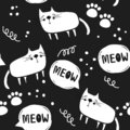Cats And Paw Prints, Black And...