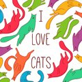 Cats pets colorful doodle vector illustration