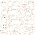 Cats posing doodle line art set