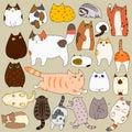 Cats posing doodle set