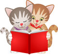 Cats reading a book scalable vectorial image representing isolated on white Stock Images