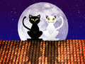 Cats on roof illustration of Royalty Free Stock Image