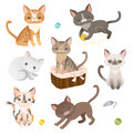 Cats set of cat characters cute icons for design vector illustration Stock Image