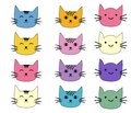 Cats, set of cute doodle. Sketch character handmade to Print T-shirts