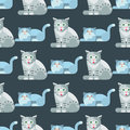 Cats vector illustration cute animal seamless pattern funny decorative kitty characters feline domestic trendy pet