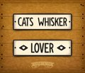 Cats whisker brutal vintage banners in style car plates Royalty Free Stock Images