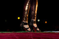 Catwalk fashion show or ramp walk with trendy and stylish footwear high heels Royalty Free Stock Photography