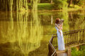 Caucasian baby boy take rest in park summer Royalty Free Stock Images