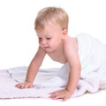 Caucasian baby crawl portrait of cute little learns to isolated on white background year Stock Image