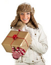 Caucasian blond woman in furry hat Stock Photo