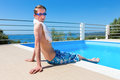 Caucasian boy with diving goggles at swimming pool Royalty Free Stock Photo