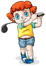 A caucasian boy playing golf illustration of on white background Stock Images