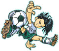 Caucasian break dancing soccer girl vector clip art cartoon of an asian using a move to play also available in and african Royalty Free Stock Image