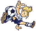 Caucasian break dancing soccer girl