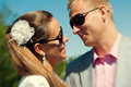 Caucasian couple with dark shades Royalty Free Stock Photo