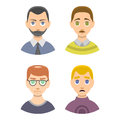 Caucasian depressed male head stressed character portrait loneliness thoughtful guy illustration.