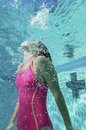 Caucasian Female Swimmer Swimming Royalty Free Stock Photo