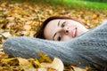 Caucasian girl in fall season Stock Photo