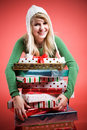 Caucasian girl with gifts Stock Photography