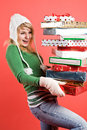 Caucasian girl with gifts on holiday Royalty Free Stock Photo