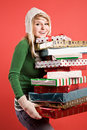 Caucasian girl with gifts on holiday Royalty Free Stock Photography