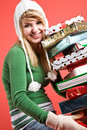 Caucasian girl with gifts on holiday Stock Images