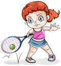 A caucasian girl playing tennis illustration of on white background Royalty Free Stock Image
