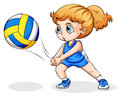 A caucasian girl playing volleyball illustration of on white background Stock Image