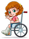 A caucasian girl sitting on a wheelchair illustration of white background Stock Photo