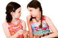 Caucasian girls listening MP3 Royalty Free Stock Photos