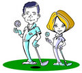 Caucasian golfer couple /clipart Royalty Free Stock Photo