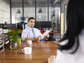 Caucasian hr manager conducting an interview Royalty Free Stock Photo