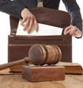 Caucasian lawyer in court law concept Stock Photos