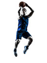 Caucasian man basketball player jumping throwing silhouette one in isolated white background Royalty Free Stock Photography
