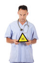 Caucasian man doctor danger sign Royalty Free Stock Photos