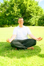 Caucasian Man Doing Meditate Stock Images