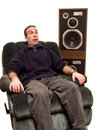 Caucasian Man Listening To Music Royalty Free Stock Images