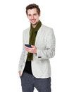 Caucasian man use of mobile phone Royalty Free Stock Photo