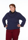 Caucasian woman in blue and red a jersey trousers on a white background Stock Image