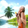 Caucasian woman drinks unrecognizable cocktail young at the beach dress collage Stock Photos