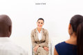Caucasian woman employment interview two human resouces personnel Royalty Free Stock Photo