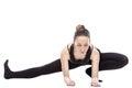 Caucasian woman exercising pilates Royalty Free Stock Photo