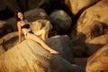 Caucasian woman rests at beautiful seashore Royalty Free Stock Image