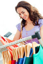 Caucasian woman selecting items Stock Photos