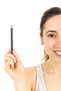 Caucasian woman showing eyebrow pencil smiling holding up a isolated on white background Stock Images